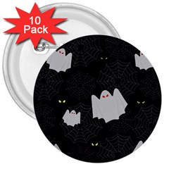 Spider Web And Ghosts Pattern 3  Buttons (10 Pack)  by Valentinaart