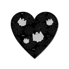Spider Web And Ghosts Pattern Heart Magnet by Valentinaart