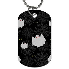 Spider Web And Ghosts Pattern Dog Tag (two Sides) by Valentinaart