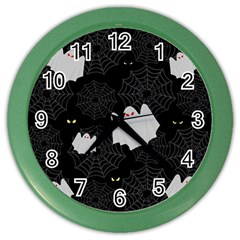 Spider Web And Ghosts Pattern Color Wall Clocks by Valentinaart
