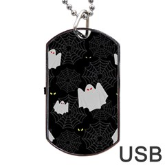 Spider Web And Ghosts Pattern Dog Tag Usb Flash (two Sides) by Valentinaart