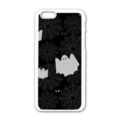 Spider Web And Ghosts Pattern Apple Iphone 6/6s White Enamel Case by Valentinaart