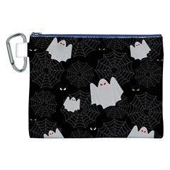 Spider Web And Ghosts Pattern Canvas Cosmetic Bag (xxl) by Valentinaart