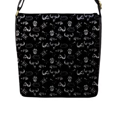 Skeleton Pattern Flap Messenger Bag (l)  by Valentinaart