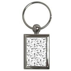 Skeleton Pattern Key Chains (rectangle)  by Valentinaart