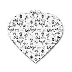 Skeleton Pattern Dog Tag Heart (one Side) by Valentinaart