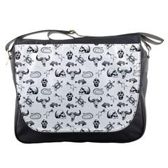 Skeleton Pattern Messenger Bags by Valentinaart