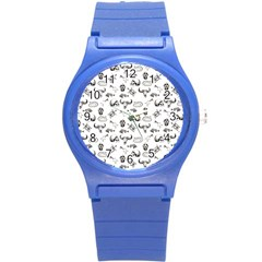 Skeleton Pattern Round Plastic Sport Watch (s) by Valentinaart