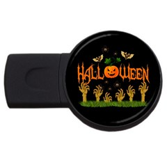 Halloween Usb Flash Drive Round (4 Gb) by Valentinaart
