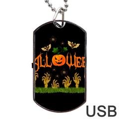 Halloween Dog Tag Usb Flash (one Side) by Valentinaart