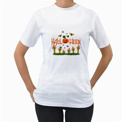 Halloween Women s T Shirt (white) (two Sided) by Valentinaart