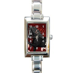 Awesmoe Black Horse With Flowers On Red Background Rectangle Italian Charm Watch by FantasyWorld7