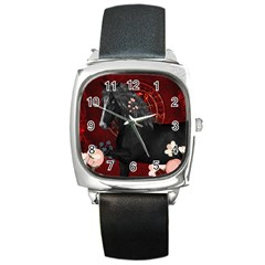 Awesmoe Black Horse With Flowers On Red Background Square Metal Watch by FantasyWorld7