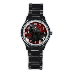 Awesmoe Black Horse With Flowers On Red Background Stainless Steel Round Watch by FantasyWorld7
