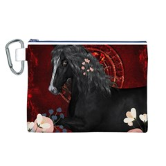 Awesmoe Black Horse With Flowers On Red Background Canvas Cosmetic Bag (l) by FantasyWorld7