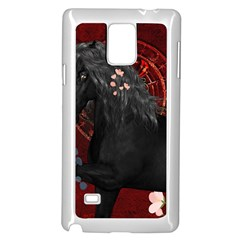 Awesmoe Black Horse With Flowers On Red Background Samsung Galaxy Note 4 Case (white) by FantasyWorld7