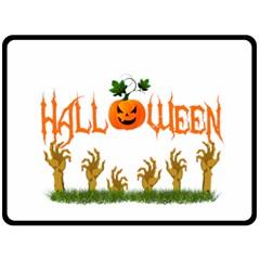 Halloween Fleece Blanket (large)  by Valentinaart