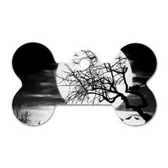 Halloween Landscape Dog Tag Bone (two Sides) by Valentinaart