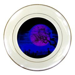Halloween Landscape Porcelain Plates by Valentinaart