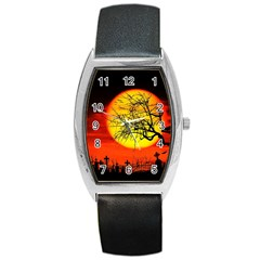 Halloween Landscape Barrel Style Metal Watch by Valentinaart