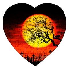 Halloween Landscape Jigsaw Puzzle (heart) by Valentinaart