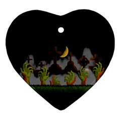 Halloween Zombie Hands Heart Ornament (two Sides) by Valentinaart