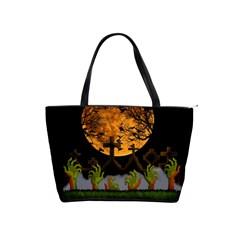 Halloween Zombie Hands Shoulder Handbags by Valentinaart