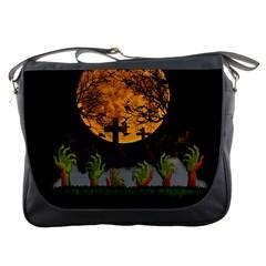 Halloween Zombie Hands Messenger Bags by Valentinaart