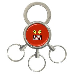 Funny Monster Face 3 Ring Key Chains by linceazul