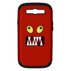 Funny Monster Face Samsung Galaxy S Iii Hardshell Case (pc+silicone) by linceazul