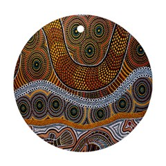 Aboriginal Traditional Pattern Round Ornament (two Sides) by Onesevenart