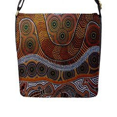 Aboriginal Traditional Pattern Flap Messenger Bag (l)  by Onesevenart