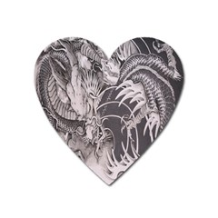 Chinese Dragon Tattoo Heart Magnet by Onesevenart
