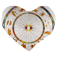 Zodiac  Institute Of Vedic Astrology Large 19  Premium Flano Heart Shape Cushions by Onesevenart
