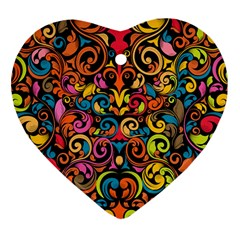 Art Traditional Pattern Heart Ornament (two Sides) by Onesevenart