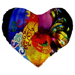 Chinese Zodiac Signs Large 19  Premium Heart Shape Cushions by Onesevenart