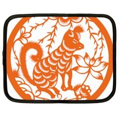 Chinese Zodiac Dog Netbook Case (large) by Onesevenart
