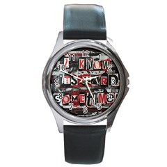 Top Lyrics   Twenty One Pilots The Run And Boys Round Metal Watch by Onesevenart