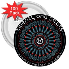 Twenty One Pilots 3  Buttons (100 Pack)  by Onesevenart