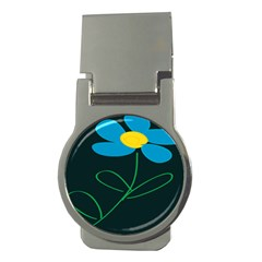 Whimsical Blue Flower Green Sexy Money Clips (round)  by Mariart