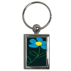 Whimsical Blue Flower Green Sexy Key Chains (rectangle)  by Mariart