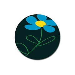 Whimsical Blue Flower Green Sexy Magnet 3  (round) by Mariart