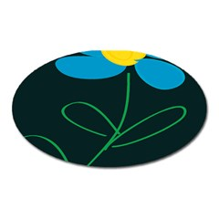 Whimsical Blue Flower Green Sexy Oval Magnet by Mariart