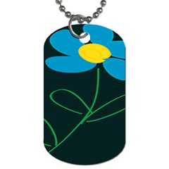 Whimsical Blue Flower Green Sexy Dog Tag (one Side) by Mariart