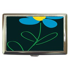 Whimsical Blue Flower Green Sexy Cigarette Money Cases by Mariart