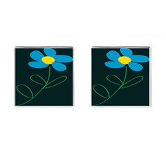 Whimsical Blue Flower Green Sexy Cufflinks (square) by Mariart