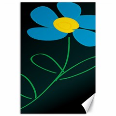 Whimsical Blue Flower Green Sexy Canvas 24  X 36  by Mariart