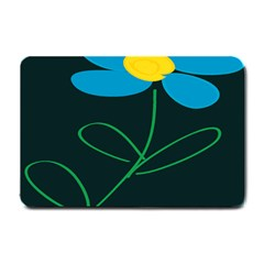 Whimsical Blue Flower Green Sexy Small Doormat  by Mariart