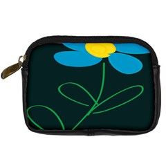 Whimsical Blue Flower Green Sexy Digital Camera Cases by Mariart