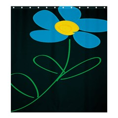 Whimsical Blue Flower Green Sexy Shower Curtain 66  X 72  (large)  by Mariart